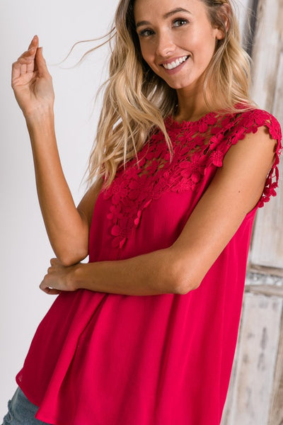 Fuchsia Floral Lace Mock Neck Top
