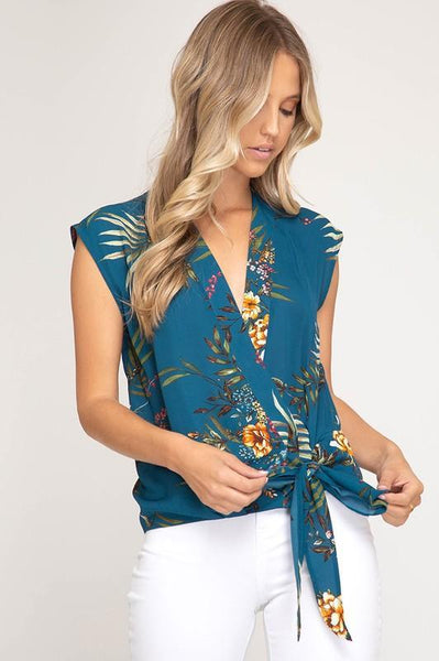 Teal Sleeveless Surplice Woven Floral Print Top