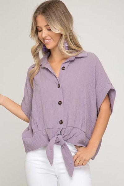 Lilac Half Sleeve Button DownTop With Front Tie