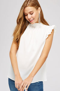 White Ruffle Detail Sleeveless Blouse
