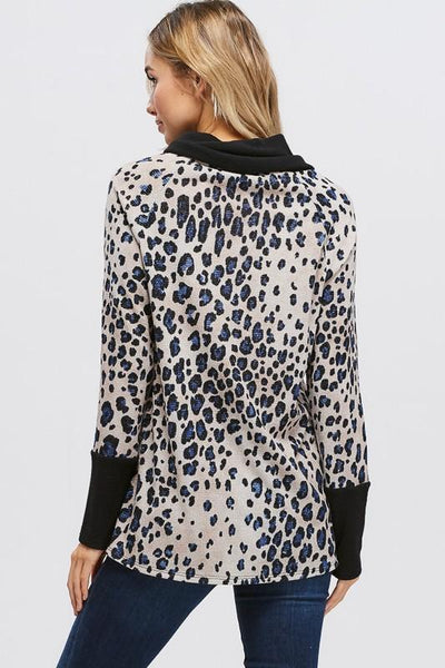 Cheetah Print Asymmetrical Hem And Buttons Sweater