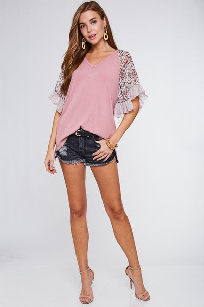 Pink Bell Sleeve Contrast Top