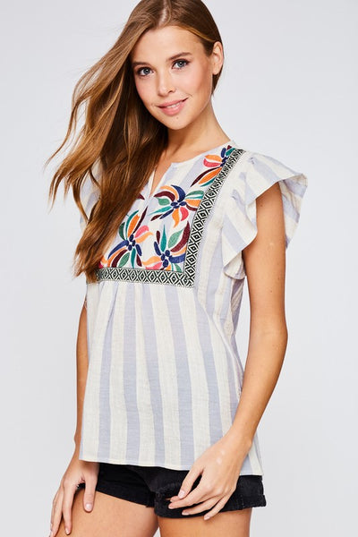 Flared Sleeve Embroidered Striped Top