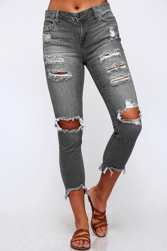 Grey Skinny Ripped Jeans