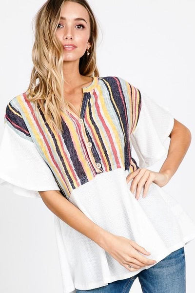 BUTTON UP MULTI STRIPE TOP