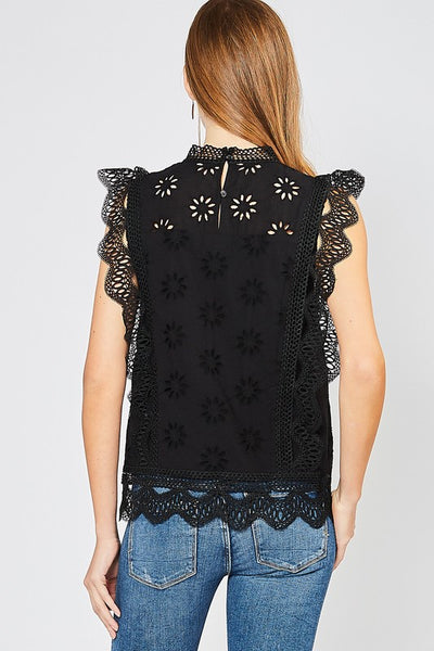 Black High-Neck Eyelet Lace Top