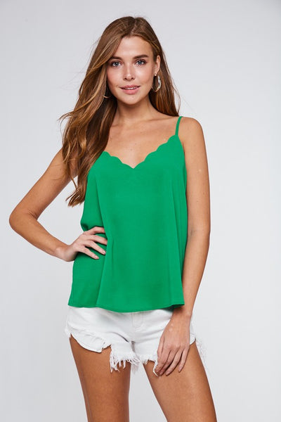 Kelly Green Scallop Detail Cami Top