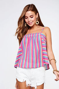 Pink Multi Colored Striped Tank Top