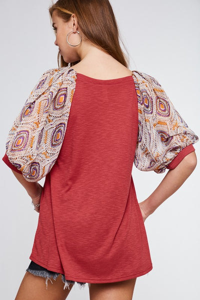 Indian Red Ballon Sleeve Top