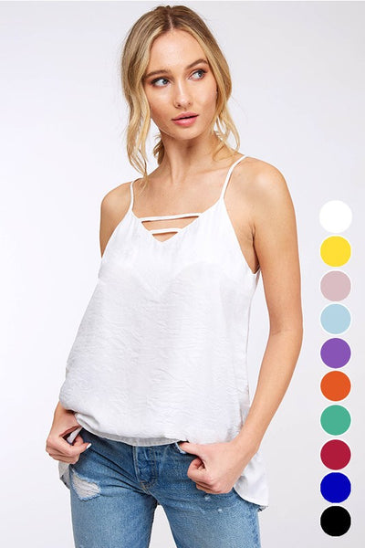 White Solid Woven Cami Top