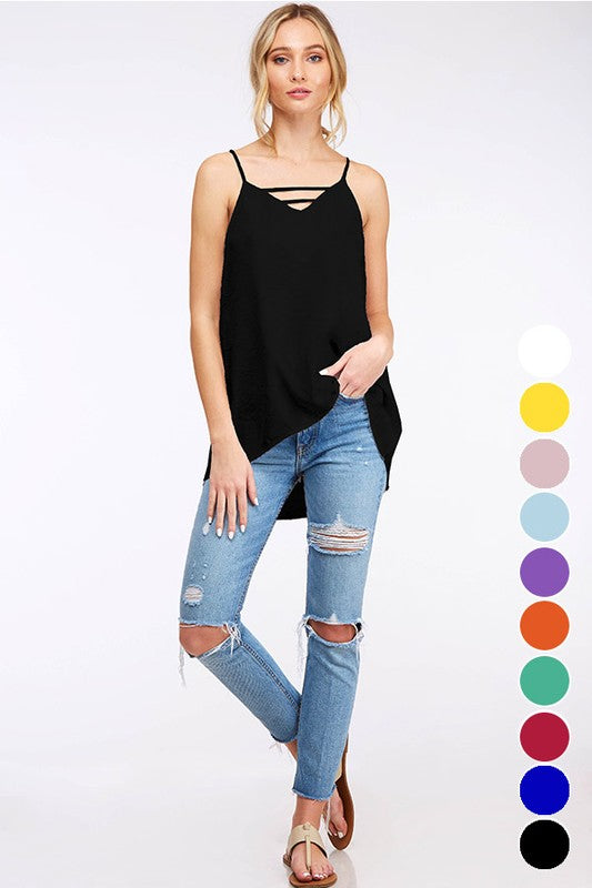 Black Solid Woven Cami Top