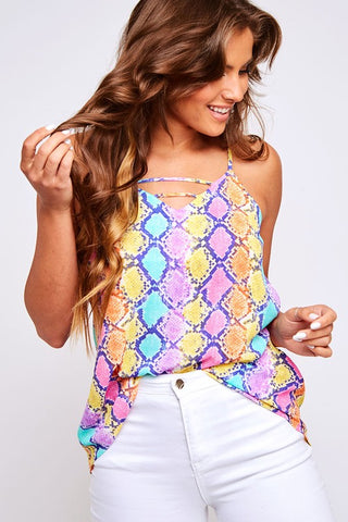 Purple Multi Color Print Woven Snakeskin Top
