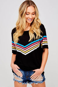 Black Multi Color Chevron Print Top