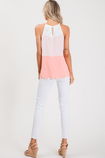 Coral Color Block Scallop Edge Top