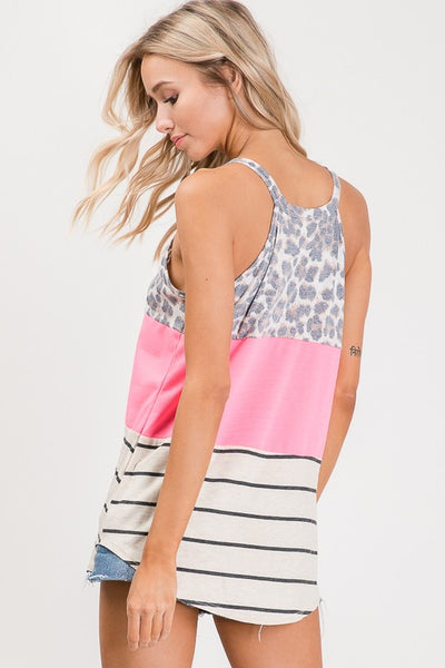 Neon Pink Color Block Sleeveless Top