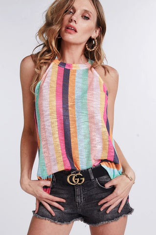 Blush Multi Color Stripe Halter Top