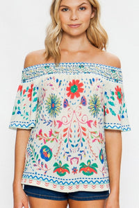 EMBROIDERED TWILL TOP