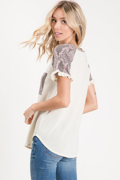 ALL ABOUT SNAKESKIN RUFFLED TOP