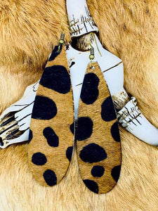Cheetah HAIR ON Long Slim Teardrop Cowhide Leather Earrings