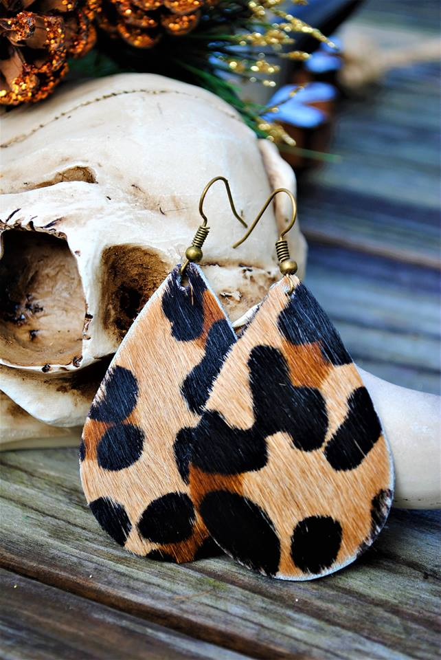 Cheetah HAIR ON Teardrop Cowhide Leather Earrings