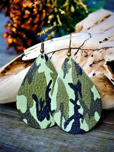 Camo Cowhide Chunky Teardrop Earrings