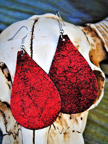 """ Rockstar "" Red Glitter Crackle Cowhide Leather Teardrop Earrings Approx. 3"""