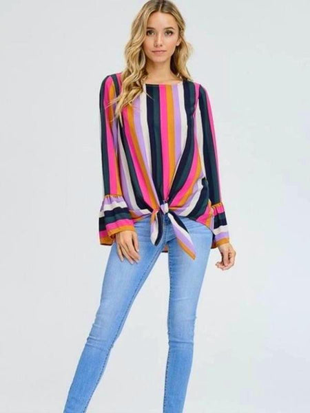 Colorful Multi Stripe Long Bell Sleeve Tie Front Top