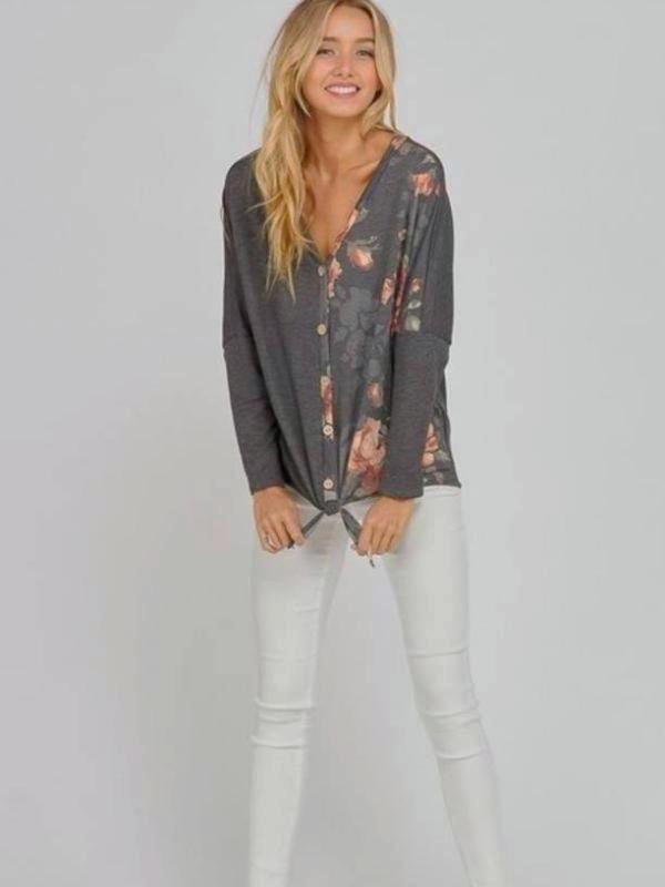 Charcoal Button Up Floral Printed Long Sleeve Top With Tied Bottom Detail