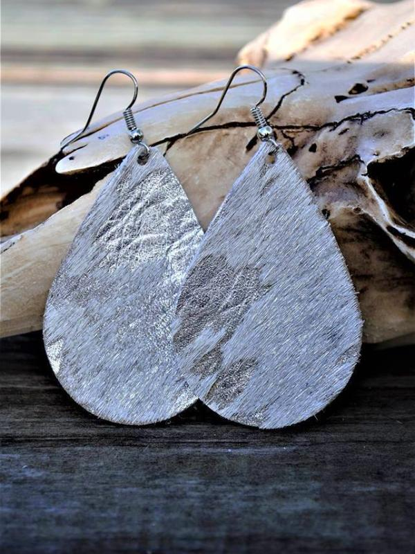 White/Silver Metallic Acid Washed Chunky Teardrop Leather Earrings