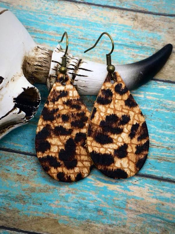 Leopard Cowhide Leather Small Teardrop Earrings