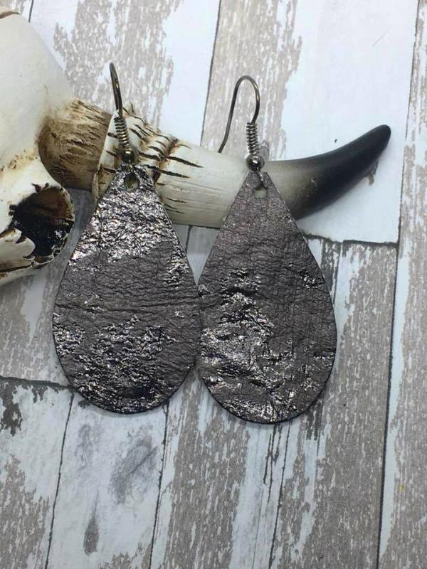 Gunmetal Acid Washed Faux Leather Small Teardrop Earrings