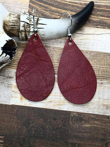 Distressed Burgundy Faux Leather Small Teardrop Earrings