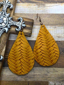 Mustard Fishtail Braided Italian Leather Teardrop Earrings
