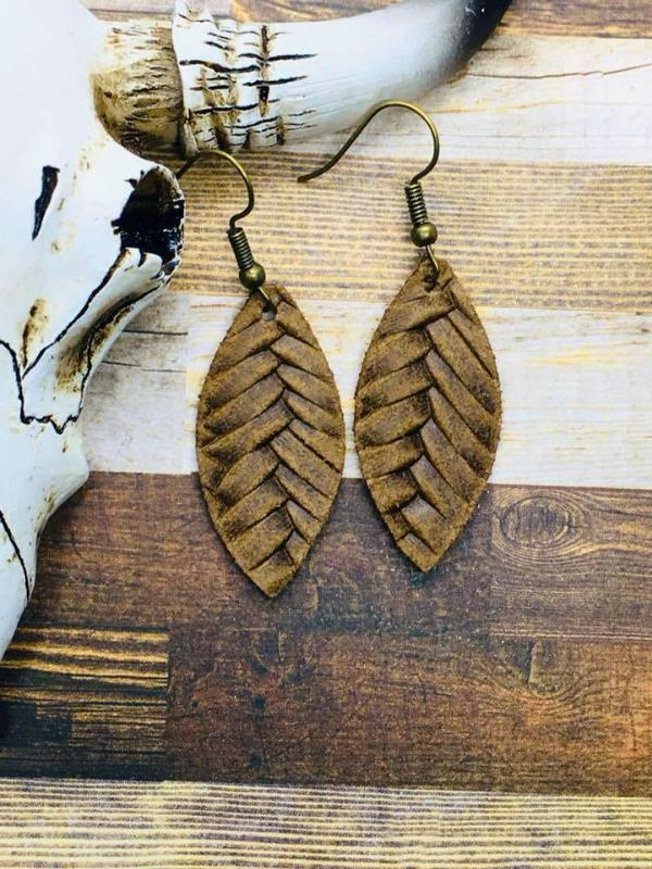 Saddle Brown Fishtail Braided Italian Leather Mini Leaf Earrings