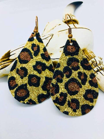Leopard Glitter Teardrop Canva Earrings