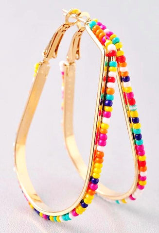 Teardrop Hoop Earrings With Colorful Seedbead Trim