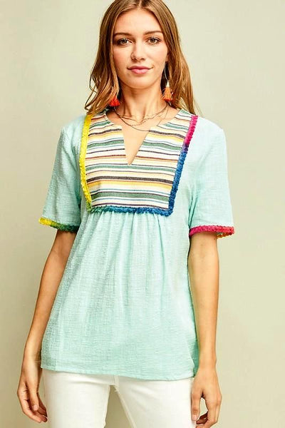 Peasant Embroidered Top With Colorful Stripe Bib Design