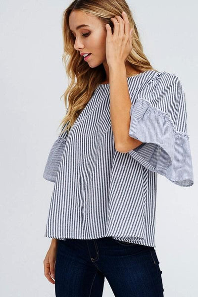 BLACK WIDE RUFFLE SLEEVE STRIPE PRINT LOOSE FIT TOP