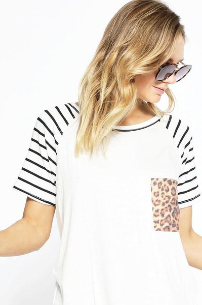 OFF WHITE SHORT SLEEVE STRIPE RAGLAN KNIT TOP