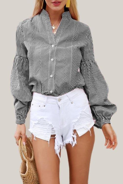 Black Long Puff Sleeve Plaid Blouse