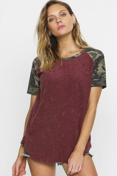 Burgundy Distressed Knit Top With Short Camo Sleeves