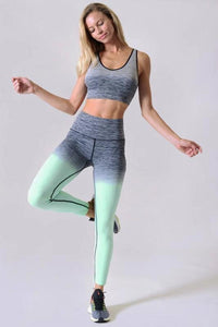 Mint Two Tone Dip Dye Ombre Leggings w/High Waist Band