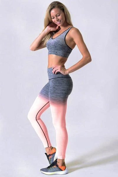 Coral Two Tone Dip Dye Ombre Leggings w/High Waist Band