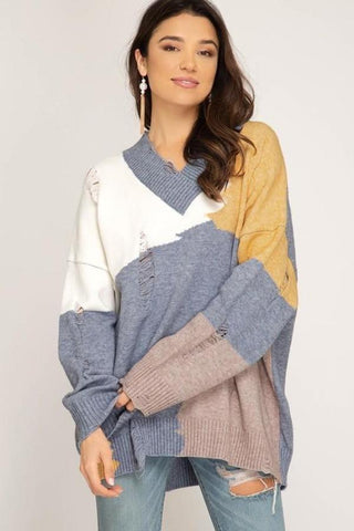 Blue/Yellow Color Block Sweater With Distress Detail