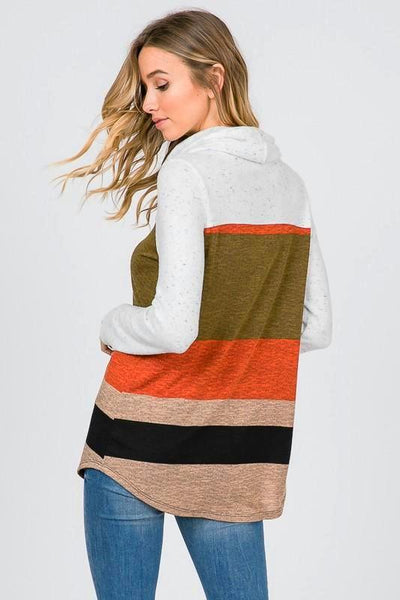 Rust Multi Color Block Turtle Neck Long Sleeve Top