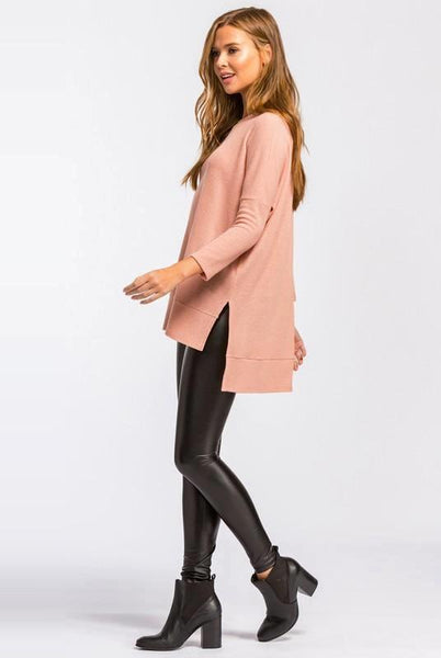 Mauve Boxy Fit, Round Neck, Long Sleeve Hi-Low Top