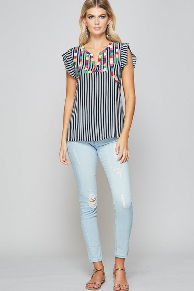 Black Multi Color Stripe Pattern Flutter Top