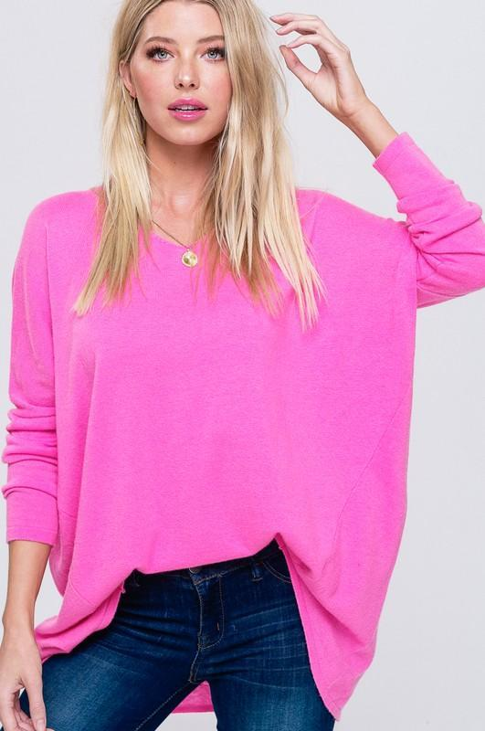 Coral V-Neck Soft Luxe Sweater Tunic Top