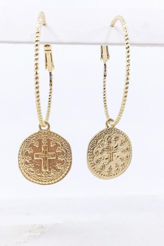 Gold Cross Coin Charm Hoop Earrings