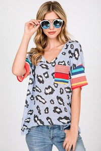 Black/Grey Leopard Multi Color Striped Short Sleeve Knit Top